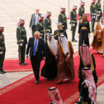 Saudi Arabia's King Salman bin Abdulaziz Al Saud welcomes U.S. President Donald Trump during a reception ceremony in Riyadh
