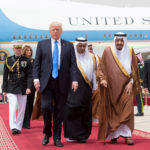 Saudi Arabia's King Salman bin Abdulaziz Al Saud welcome U.S. President Donald Trump during a reception ceremony in Riyadh