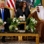 Saudi Arabia's King Salman welcomes Trump with coffee in the Royal Terminal in Riyadh