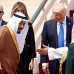 Saudi Arabia's King Salman welcomes Trump and the first lady as they arrive aboard Air Force One at King Khalid Airport in Riyadh