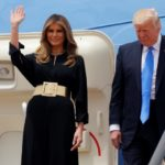 Trump and the first lady arrive aboard Air Force One at King Khalid Airport in Riyadh