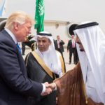 Saudi Arabia's King Salman bin Abdulaziz Al Saud shakes hands with U.S. President Donald Trump during a reception ceremony in Riyadh