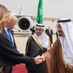 Saudi Arabia's King Salman bin Abdulaziz Al Saud shakes hands with first lady Melania Trump during a reception ceremony in Riyadh