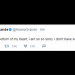 A tweet from U.S. singer Ariana Grande is seen as she makes her first comment since a bombing at her concert in Manchester, England
