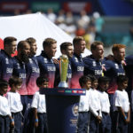 England players during their national anthem before the match