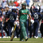 Bangladesh's Soumya Sarkar walks off after losing his wicket
