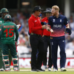 The Umpire talks with England's Ben Stokes as Bangladesh's Mushfiqur Rahim and Tamim Iqbal look on