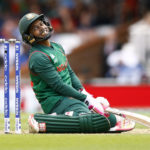 Bangladesh's Mushfiqur Rahim reacts