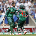 Bangladesh's Tamim Iqbal celebrates his century with Mushfiqur Rahim