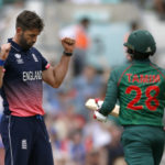 England's Liam Plunkett celebrates taking the wicket of Bangladesh's Tamim Iqbal