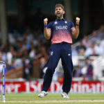 England's Liam Plunkett celebrates taking the wicket of Bangladesh's Mushfiqur Rahim