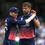England's Liam Plunkett and Eoin Morgan celebrate taking the wicket of Bangladesh's Mushfiqur Rahim