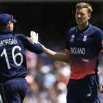 England's Jake Ball celebrates taking the wicket of Bangladesh's Shakib Al Hasan with Eoin Morgan