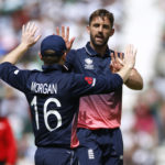 England's Liam Plunkett celebrates taking the wicket of Bangladesh's Sabbir Rahman with Eoin Morgan