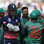 Bangladesh's Mashrafe Mortaza celebrates the wicket of England's Jason Roy with team mates
