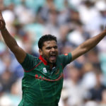 Bangladesh's Mashrafe Mortaza celebrates the wicket of England's Jason Roy