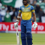 Sri Lanka's Danushka Gunathilaka looks dejected after being dismissed