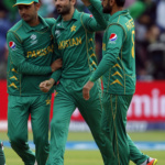 Pakistan's Junaid Khan celebrates the wicket of Sri Lanka's Danushka Gunathilaka with teammates