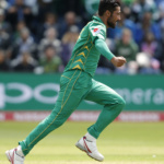 Pakistan's Mohammad Amir celebrates the wicket of Sri Lanka's Niroshan Dickwella