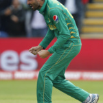 Pakistan's Junaid Khan celebrates the wicket of Sri Lanka's Thisara Perera