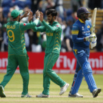Pakistan's Hasan Ali celebrates with Imad Wasim after bowling Sri Lanka's Suranga Lakmal
