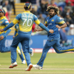 Sri Lanka's Lasith Malinga celebrates as Pakistan's Shoaib Malik is caught by Niroshan Dickwella