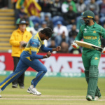 Sri Lanka's Nuwan Pradeep celebrates as Pakistan's Imad Wasim is caught by Niroshan Dickwella