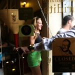 People leave the Floridita bar, made famous by late U.S. writer Ernest Hemingway, in Havana