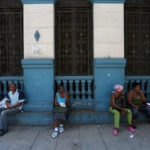 """Vendors offer plastic bags for sale near a subsidized state store, or """"bodega"""", where Cubans can buy basic products with a ration book they receive annually from the government, in Havana"""