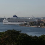 A cruise ship is seen at the Havana bay