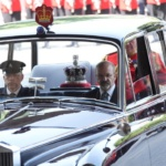 Britain's Queen Elizabeth's crown is driven to the State Opening of Parliament in central London