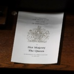The Order of Ceremony is placed on a seat in the House of Lords ahead of the State Opening of Parliament in central London